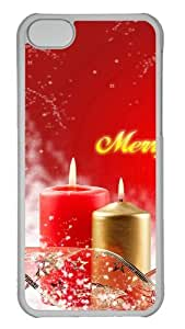 Customized Case Merry Christmas Candles PC Transparent for Apple iPhone 5C