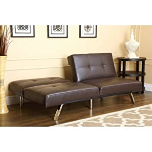 Austin Leather Futon Sofa Bed, Espresso Brown, Set Includes: 1 Futon Sleeper Sofa, Materials: Wood And Metal Frame, Bundle With Ebook For Home Furniture