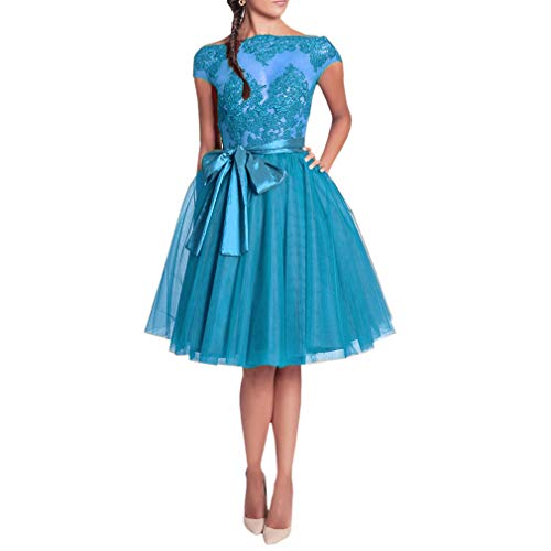 WDPL Women's A-line Layered Short Knee Length Bowknot Bridal Prom Tulle Skirt (Blue, Small) -