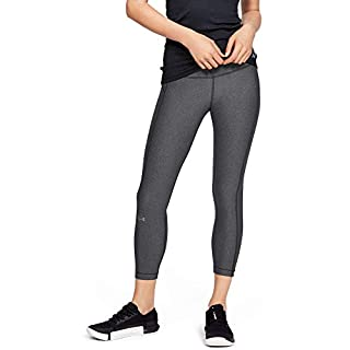 Under Armour Women's HeatGear Armour High Waisted Ankle Crop Leggings , Charcoal Light Heather (019)/Metallic Silver , Large