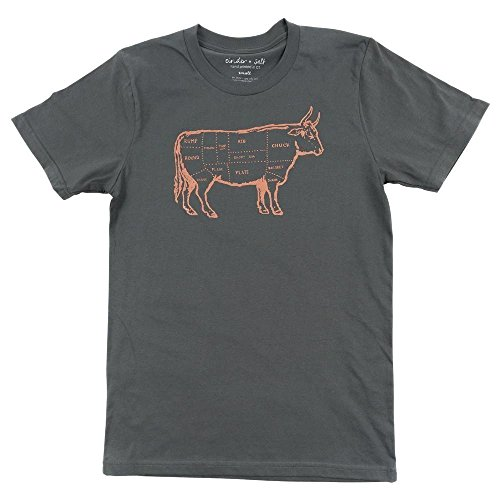Beef Butcher Chart Men's Short Sleeve Crewneck 100% Cotton ()