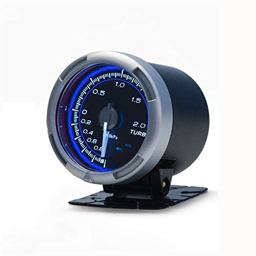 Universal Car Turbo Boost Gauge, Racing Style Car Turbo Boost Gauge, 60mm 200Kpa Meter Blue Light Car Turbo Boost Gauge Meter: