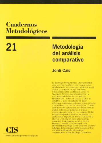 Descargar Libro Metodología Del Análisis Comparativo Jordi Caïs