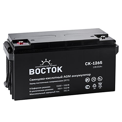 Bockok 12V 65 Amp NP12 65Ah Rechargeable Lead Acid Battery With Button Style Terminals by NPP