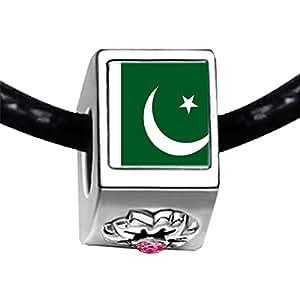 Chicforest Silver Plated Pakistan flag Photo Light Rose Crystal October Birthstone Flower Charm Beads Fits Pandora Charm Bracelet