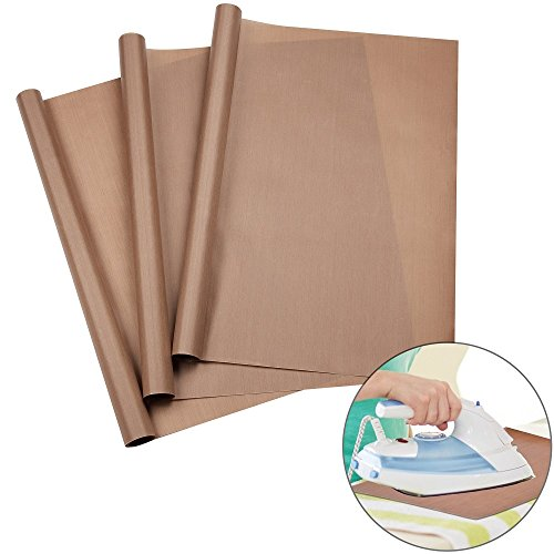 URGEAR PTFE Teflon Sheets for Heat Press Transfers, 100% Non Stick Heat Resistant Craft Mat 16 x 24 Inch-(3 Pcs)