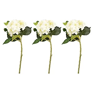 Juvale Artificial Hydrangea - 3-Pack Hydrangea Bouquet in White - Fake Flowers Artificial Plant Home Decor, Wedding, Party, Patio 40