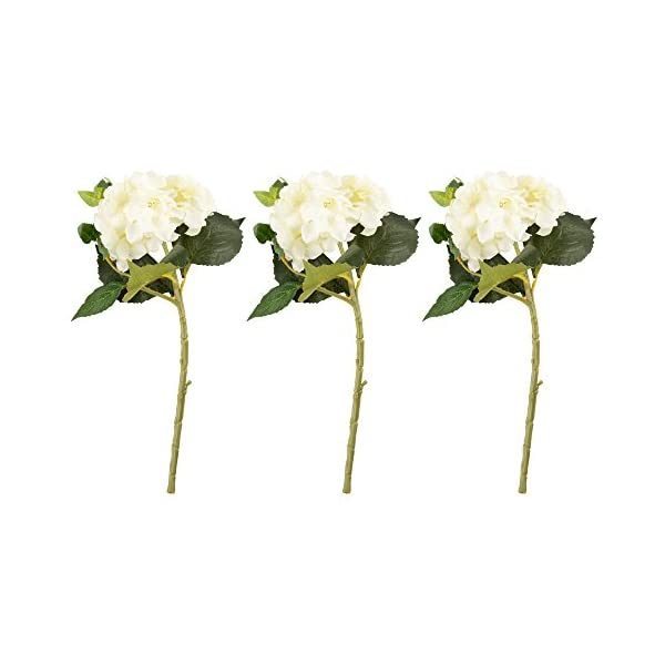 Juvale Artificial Hydrangea – 3-Pack Hydrangea Bouquet in White – Fake Flowers Artificial Plant Home Decor, Wedding, Party, Patio