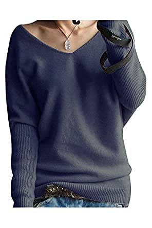 Women's Loose V-neck Cashmere Sweater (Medium, Navy Blue)