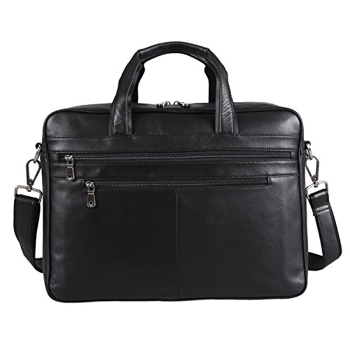 Polare Real Soft Nappa Leather 17 Laptop Case Professional Briefcase Business Bag For Men (Black) by Polare (Image #1)