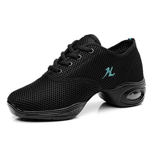 Yuanli Frauen Mesh Ballroom Tanzschuhe Leichte Jazz Schuhe Schwarz
