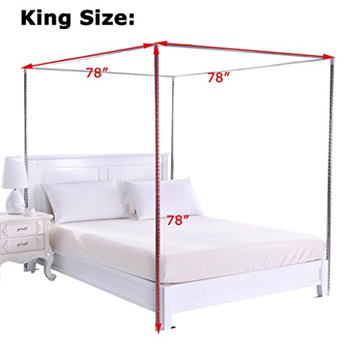 Obokidly Thinken 4 Corner Stainless Steel Bedding Canopy Frame Post Fit for Twin/Full/Queen/California King/King Size Metal Bed;Four Corner Bed Mosquito Netting Bracket (King)