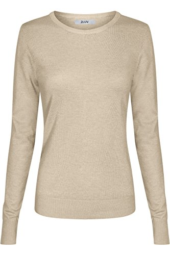 2LUV Women's Silk Blend Stretch Knit Crew Neck Light Brown M (Silk Blend Mock Neck)