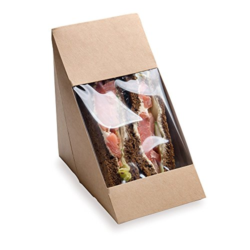 Large Sandwich Wedge Box, Sandwich Take Out Box - 4.8'' x 3.2'' Triangle Sandwich Box with Window - Brown - 200ct Box - Restaurantware by Restaurantware