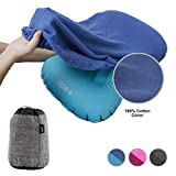 Inflatable Camp Pillow with Cotton Pillowcase Set – Camping, Travelling and Hiking Blow