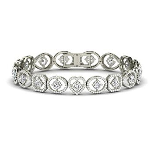 (Smjewels Solid 14K White Gold Fn 6.05Ct Round Cut Sim Diamond Heart Link Tennis Bracelets)