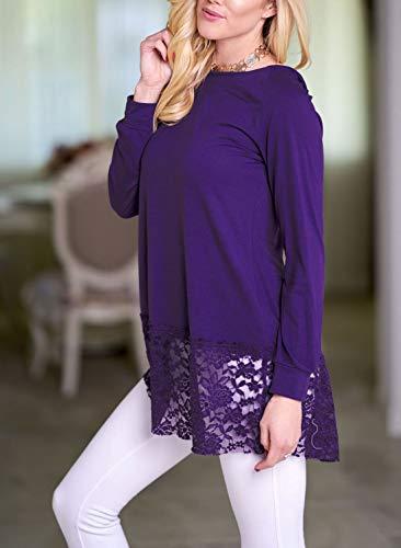 Shirt Violet Long Jumper Tops T Hauts Manches Sweats Femmes Fashion Tee Automne pissure Printemps Tunique et Chemisiers Blouse Longues Dentelle Capuche gwxRCgz