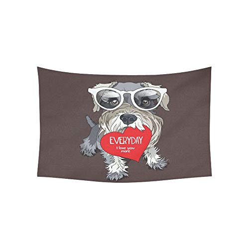 Tapestry Schnauzer in A Glasses Red Heart Valentines C Tapestries Wall Hanging Flower Psychedelic Tapestry Wall Hanging Indian Dorm Decor Living Room Bedroom 60 X 40 Inch