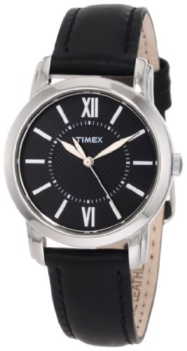 (Timex Women's Classic | Black Leather Strap Black Dial | Style Watch T2N681)