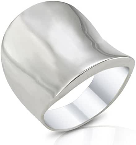 MIMI Sterling Silver Cool Plain 22MM Wide Front Design Band Ring