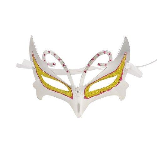Amarillo Silver Accent - Glitter Powder Accent Self Tie Eye Mask Silver Tone Yellow Purple