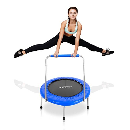 "Serenelife Highly Elastic Sport Trampoline 36"" - Heavy Duty Jumping Mat w/ Coil Spring 26"" in dia Safe for Kid Padded Frame Cover and Handle Bar 24"" Inch High - Space Saver Foldable w/ Kitbag SLSPT369"