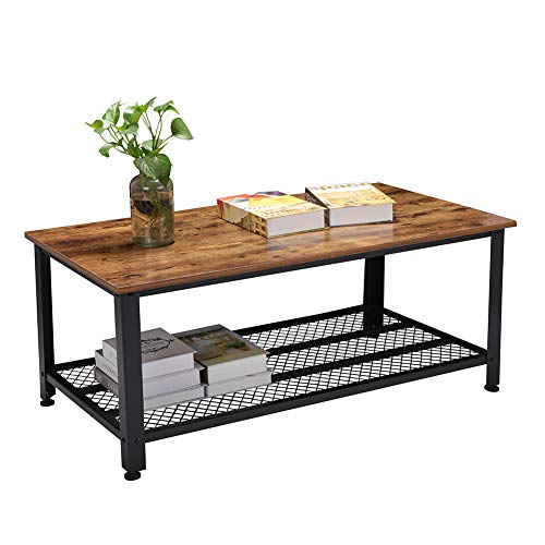 Rectangle Rustic Wood Coffee Table with Storage Shelf, Industrial Wood Panel and Metal Frame Cocktail Table for Living Room ()