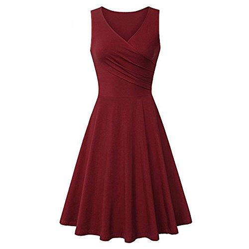 (Ulanda Women V Neck Sleeveless Solid Color Summer A Line Casual Dress)
