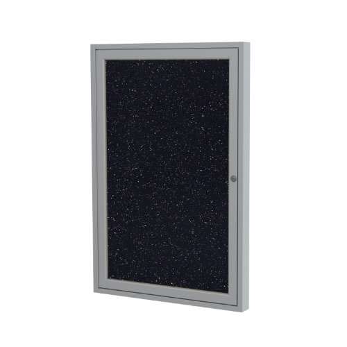 Ghent 36''x24'' 1-Door indoor Enclosed Recycled Rubber Bulletin Board, Shatter Resistant, with Lock, Satin Aluminum Frame, Confetti ( PA13624TR-CF) ,Made in the USA by Ghent