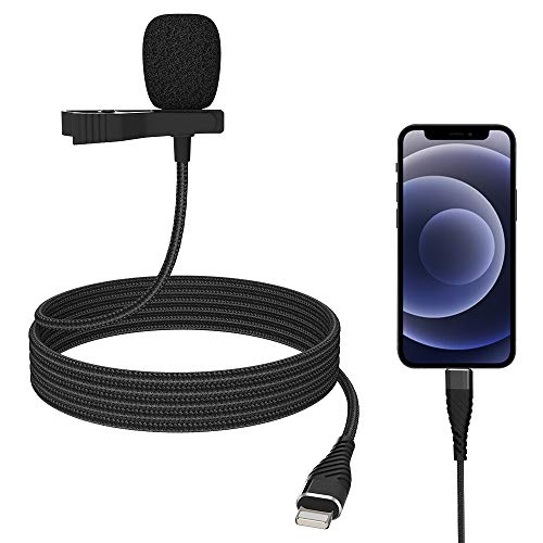 Mini Professional Lavalier Lapel Microphone Directivity Condenser Mic for 8/8 Plus 11/11 Pro 12/12 Pro, iPhone X/XS/XR, YouTube Vlogging Facebook Interview Livestream Video Recording (9.8ft)
