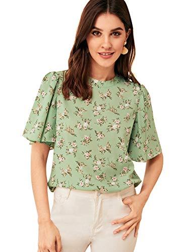 Verdusa Women's Zipper Back Flutter Bell Sleeve Floral Blouse Top Green XS