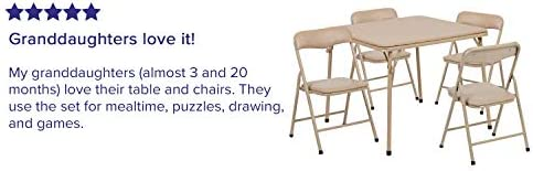 Flash Furniture Kids Tan 5 Piece Folding Table And Chair Set