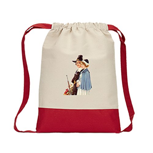 Canvas Backpack Color Drawstring Couple With Gun And Turkey By Style In Print | Red by Style in Print