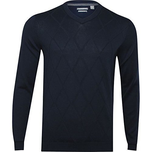 Ashworth Mens Diamond Texture Pima Sweater X-Large Navy (100% Pima Cotton Sweater)