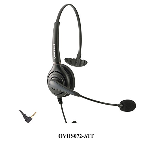 OvisLink Corded AT&T Phone Headset | 2.5mm headset with microphonen for Call Center | Noise Canceling Microphone | Rotatable Microphone Boom | Over-the-Head style | Quick Disconnect Included by Ovislink