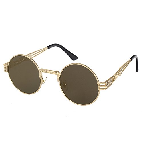 Pro Acme Metal Spring Frame Round Steampunk Sunglasses Clear Lens Available Gold Frame/Brown Lens