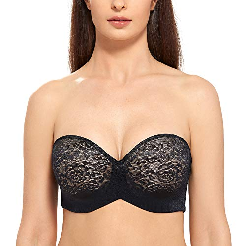 DELIMIRA Women's Underwire Padded Lift Seamless Lace Multiway Strapless Bra Black_Jacquard 36C ()