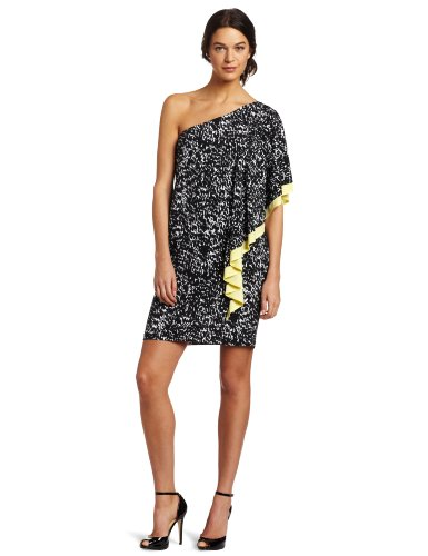 Tiana B Women's Printed One Shoulder Dress With Color Pop