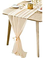 BOXAN Gorgeous Light Gold Table Runner 30x120 Inch for Beige Romantic Wedding Decor, Bridal Shower, Baby Shower, Birthday Party Cake Table Decorations