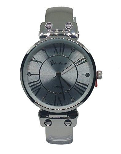 Bangle Platinum Geneva (Women's Polished Metal Roman Numeral Rhinestone Dial Watch)