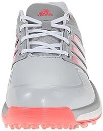 adidas Women\'s W Adipower Boost Golf Shoe, Clear Grey/Running White/Flash Red, 6 M US