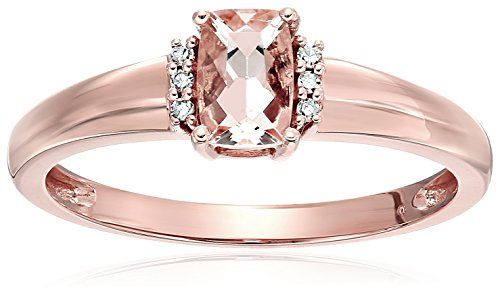 10k Rose Gold Morganite And Diamond Accented Solitaire Engagement Ring, Size 7 ()