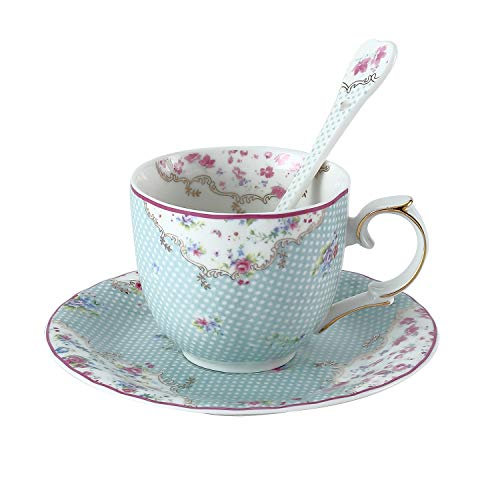 DAYE BOUTIQUE Coffee/Tea Cup & Saucer Set with Spoon Royal Fine Bone China 6.8 Oz for Specialty Coffee Drinks, Latte, Cafe Mocha and Tea, Vintage Floral Cup with Polka Dots (Vintage Fine Bone)