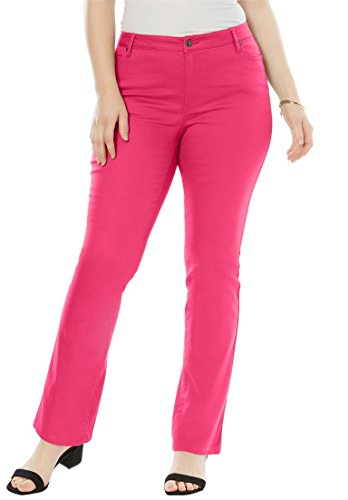 Roamans Women's Plus Size Petite Bootcut Jeans With Invisible Stretch Waistband (Stretch Denim Pink)
