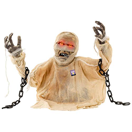 (Animated Halloween Ground Breaker Grave Mummy with Lighted Eyes and Howling Sounds, 16 1/2)
