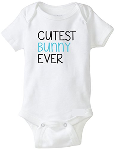 Bebe Bottle Sling Funny Baby Boy Outfit, Cutest Bunny Ever, White 6-12 MO
