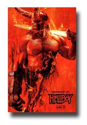 Hellboy Poster Movie Promo 11 x 17 inches Red Orange Legendary AF Sword 2019