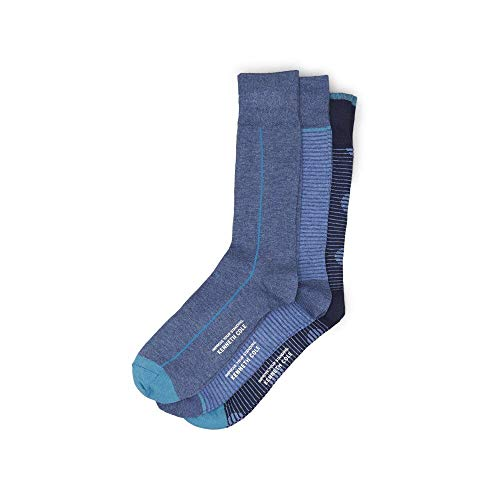 - Kenneth Cole Reaction Three Pack Dress Crew Socks - Blue Stripe/Pinstripe/Dot