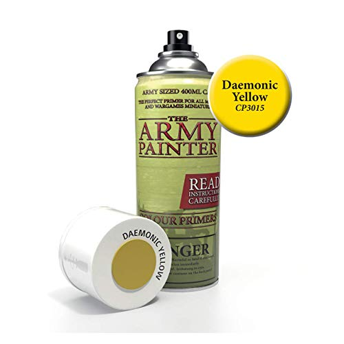 The Army Painter Color Primer, Daemonic Yellow, 400ml, 13.5oz - Acrylic Spray Undercoat for Miniature Painting