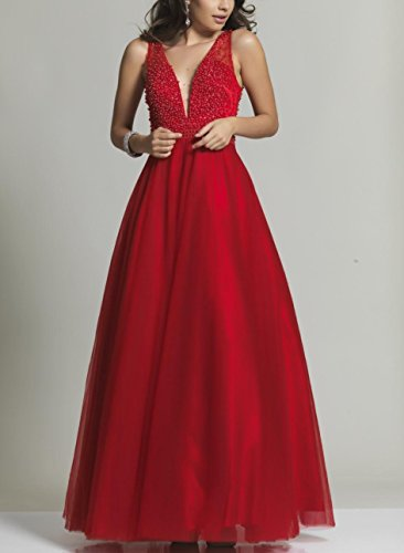 Prom Gowns Tulle V Wedding Party Women's Dresses Red Beaded Crystal neck DreHouse AZYqn